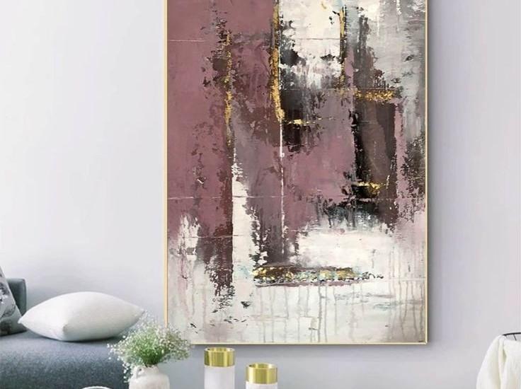 абстрактная картина с паталью и текстурной пастой 1